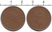 Изображение Монеты Цейлон 1 цент 1943 Медь XF Георг VI.