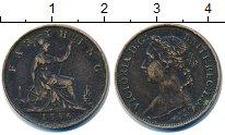 Изображение Монеты Великобритания 1 фартинг 1886 Бронза VF Королева  Виктория.