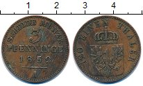 Изображение Монеты Пруссия 3 пфеннига 1852 Медь XF