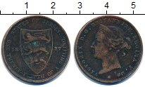 Изображение Монеты Остров Джерси 1/24 шиллинга 1877 Бронза VF Королева  Виктория.