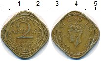Изображение Монеты Индия 2 анны 1942 Латунь VF