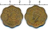 Изображение Монеты Цейлон 10 центов 1944 Латунь XF Георг VI.