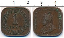 Изображение Монеты Стрейтс-Сеттльмент 1 цент 1919 Бронза XF