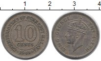 Изображение Монеты Малайя 10 центов 1949 Медно-никель XF