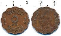 Изображение Монеты Египет 5 мильем 1943 Бронза XF Фарук I