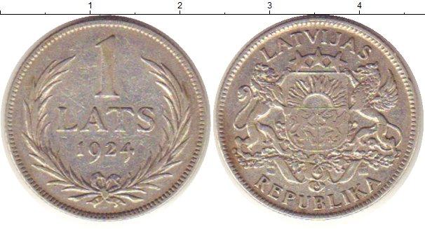 Картинка Монеты Латвия 1 лат Серебро 1924