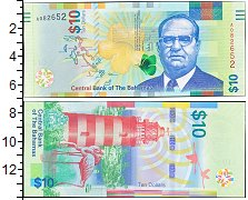 Изображение Банкноты Багамские острова 10 долларов 2015  UNC- Маяк, фламинго