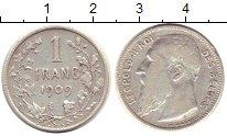 Изображение Монеты Бельгия 1 франк 1909 Серебро VF
