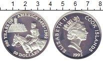 Изображение Монеты Новая Зеландия Острова Кука 50 долларов 1992 Серебро Proof-