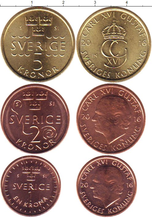 Картинка Наборы монет Швеция Швеция 2016  2016