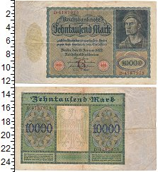 Изображение Боны Веймарская республика 10000 марок 1922  VF Выпуск 19 января 192