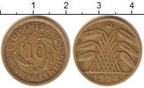 Изображение Монеты Веймарская республика 10 пфеннигов 0 Латунь XF