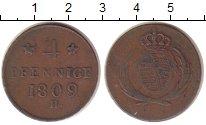 Изображение Монеты Германия Саксония 4 пфеннига 1809 Медь XF