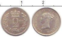 Изображение Монеты Великобритания 2 пенса 1869 Серебро XF Королева  Виктория.