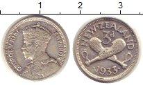 Изображение Монеты Новая Зеландия 3 пенса 1933 Серебро VF