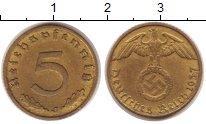 Изображение Монеты Третий Рейх 5 пфеннигов 1937 Латунь XF J