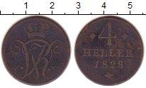 Изображение Монеты Гессен-Кассель 4 хеллера 1828 Медь VF Вильгельм II.