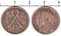 Изображение Монеты Великобритания Родезия 6 пенсов 1936 Серебро VF