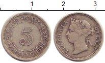 Изображение Монеты Стрейтс-Сеттльмент 5 центов 1886 Серебро VF Виктория
