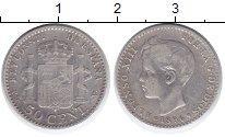 Изображение Монеты Испания 50 сентим 1896 Серебро VF Альфонсо XIII