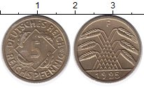 Изображение Монеты Веймарская республика 5 пфеннигов 1925 Латунь XF F