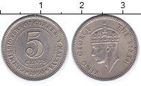 Изображение Монеты Малайя 5 центов 1950 Медно-никель XF Георг VI
