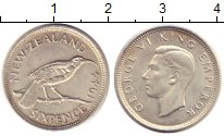 Изображение Монеты Новая Зеландия 6 пенсов 1944 Серебро UNC-
