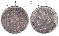 Изображение Монеты Испания 50 сентим 1896 Серебро VF