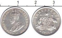 Изображение Монеты Австралия 3 пенса 1935 Серебро UNC- Георг V