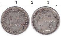 Изображение Монеты Стрейтс-Сеттльмент 10 центов 1901 Серебро VF
