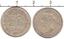 Изображение Монеты Цейлон 25 центов 1892 Серебро XF Виктория