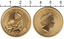 Изображение Монеты Австралия 1 доллар 2011 Латунь UNC Елизавета II. дракон