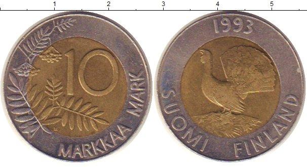 Картинка Монеты Финляндия 10 марок Биметалл 1993