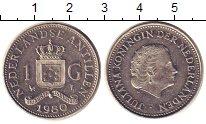 Изображение Монеты Антильские острова 1 гульден 1980 Медно-никель XF Королева  Юлиана.