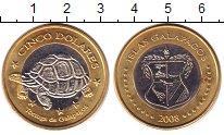 Изображение Монеты Галапагосские острова 5 долларов 2008 Биметалл UNC- Черепаха