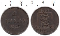 Изображение Монеты Гернси 4 дубля 1893 Бронза XF