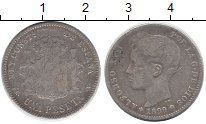 Изображение Монеты Испания 1 песета 1899 Серебро VF