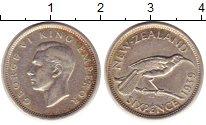 Изображение Монеты Новая Зеландия 6 пенсов 1939 Серебро XF