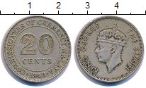 Изображение Монеты Малайя 20 центов 1948 Медно-никель XF-