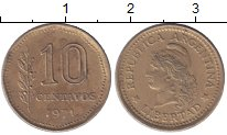 Изображение Мелочь Аргентина 10 сентаво 1971 Латунь VF