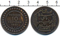 Изображение Монеты Тунис 10 сантим 1917 Бронза XF
