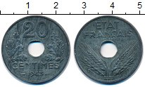 Изображение Монеты Франция 20 сантимов 1943 Цинк VF