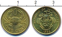 Изображение Монеты Сейшелы 1 цент 1982 Латунь UNC- краб
