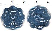 Изображение Монеты Мальдивы 5 лари 1984 Алюминий UNC- Рыбки