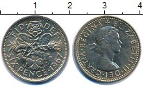 Изображение Монеты Великобритания 6 пенсов 1967 Медно-никель UNC-
