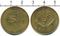 Изображение Монеты Словения 5 толаров 1995 Латунь UNC- ФАО