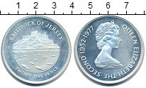 Изображение Монеты Остров Джерси 25 пенсов 1977 Серебро UNC Елизавета II.  Сереб