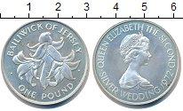 Изображение Монеты Остров Джерси 1 фунт 1972 Серебро UNC