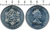Изображение Монеты Олдерни 2 фунта 1989 Медно-никель XF