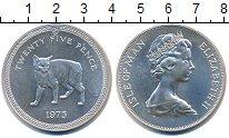 Изображение Монеты Остров Мэн 25 пенсов 1975 Серебро UNC Елизавета II.  Мэнск